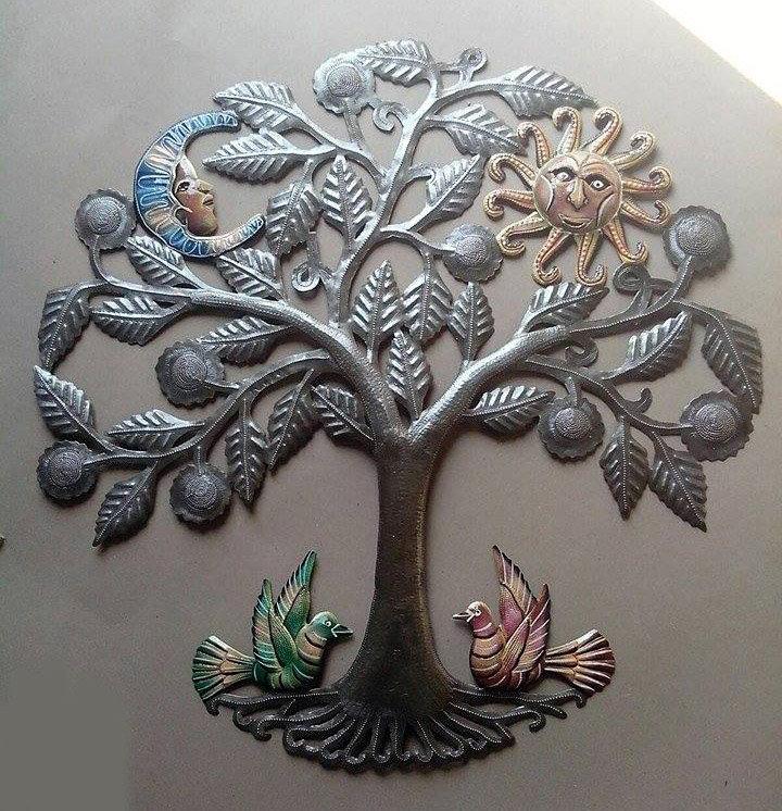 Le m tal de l 39 arbre de la vie avec des oiseaux le soleil for Decoration murale arbre de vie