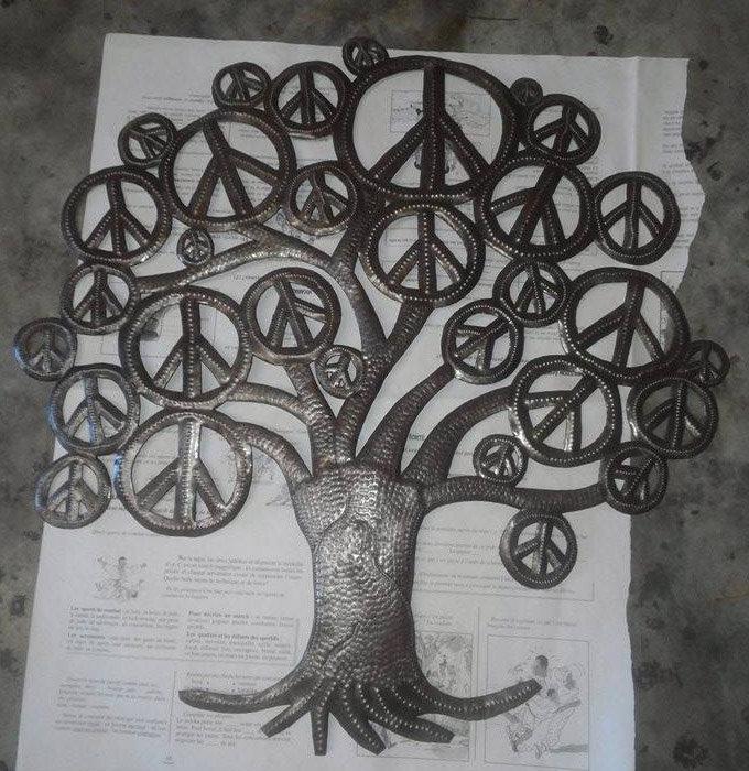 arbre de vie fait la main l 39 arbre de vie d coration murale abstraite paroi m tallique art. Black Bedroom Furniture Sets. Home Design Ideas