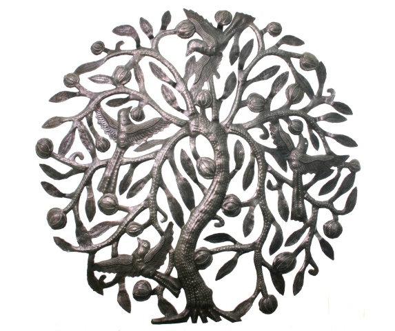 l 39 arbre de la vie avec des oiseaux en m tal art d coration murale appartement bon march d cor. Black Bedroom Furniture Sets. Home Design Ideas